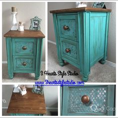 Teal| Turquoise| Side Table| Nightstand| Painted Furniture Denver and Colorado Springs| Furniture| Refinished Furniture
