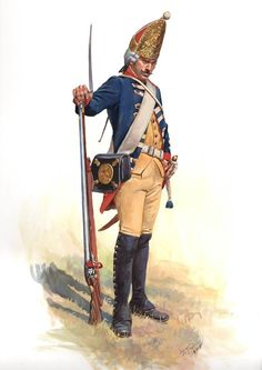 A Hessian Grenadier of the Regiment Von Wutginau as he would have appeared in the New York Campaign of 1776.
