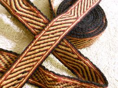 "Handwoven Tie Belt - Red, Gold, Black - 81"" long"