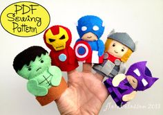 Fantoches de dedo. Digital Pattern: Superheroes Felt Finger Puppets by FloralBlossom