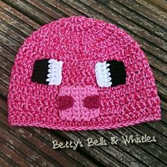 Minecraft pig crochet hat