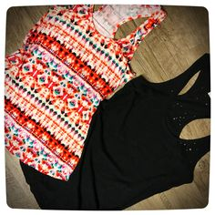 Aztec and Black Distressed Loose Tank