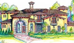 House Plan 64666 - Italian Style House Plan with 3908 Sq Ft, 4 Bed, 5 Bath, 3 Car Garage Tuscan House Plans, Small House Plans, Mountain House Plans, Curved Walls, Tuscan Design, Roof Plan, Spanish House, Italian Style, Old World