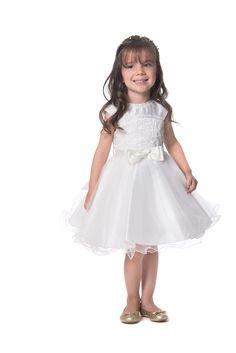 Vestido de Festa Infantil Petit Cherie Branco Brilhos Saia Tule