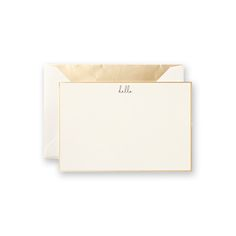 "Vera Wang Hello Gold Border Correspondence Cards: Sweet and modern, a ""hello"" in handwriting-inspired type is paired with a gold border, making this card the perfect choice for the playful sophisticate."