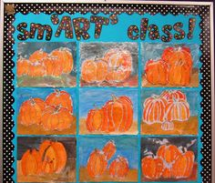 I'm back with my Friday Art Feature. I've missed it the past week or two. We were finishing up our Falling Leaves project, which took. Leaf Projects, Fall Projects, Class Projects, Educational Activities For Kids, Art Activities, Kids Art Class, Art For Kids, Art Bulletin Boards, Halloween Art Projects