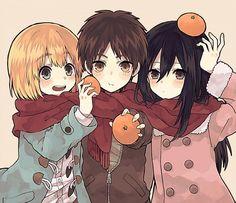 Tags: Anime, Pixiv Id 4236395, Shingeki no Kyojin, Armin Arlert, Eren Jaeger, Mikasa Ackerman, Orange (Fruit)