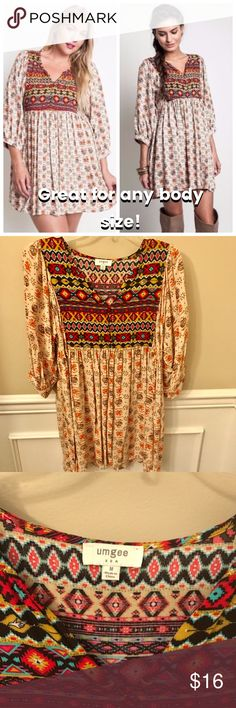 Umgee Tribal Print Tunic Dress Boho Gypsy Like new! Worn once. Very roomy and flowy. Lots of bust room. Reasonable offers accepted via offer button only. No trades. I strive to maintain good feedback. I'm a real person. If for any reason you are unhappy with your purchase, please contact me. Umgee Dresses Mini