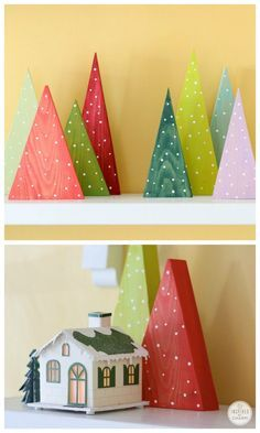 DIY Modern Wood Trees - you won't believe how simple these are to make! Change the color to match your decor.