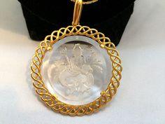 Vtg Crown Trifari Intaglio Neptune Large Round Gold Tone Long Chain Necklace | eBay