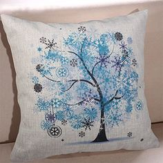 """Droyee Linen Cotton Throw Pillow Case Decorative Cushion Covers Nature Trees Winter Tree(18""""*18"""")"""