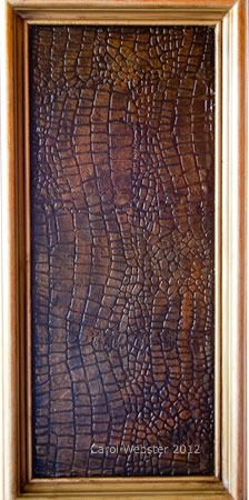 """For years I've been looking for a reason to incorporate Crocodile texture on a cabinet. With a masculine inspired basement, this will be the perfect place to make it happen. """"Croc"""" panel made with Caromal Colours"""