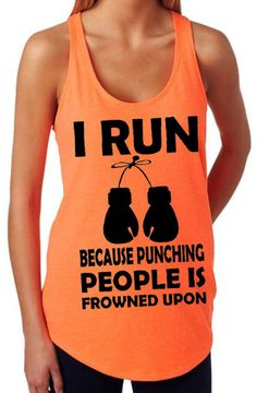 Saying - I run because punching people is frowned upon. Size Chart- Small - 31/33 Chest Medium - 34/36 Chest Large - 37/39 Chest