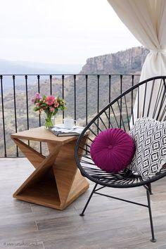 Una terraza para Hotel Boutique Hacienda Lomajim