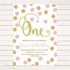Pink and Gold 1st Birthday Invitation Girl, Any Age Pink Gold Dots Girl First Birthday Invitation, Polka Dot Printable Digital JPEG PDF