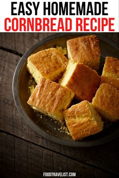 Looking for the perfect pairing with your homemade chili, casserole or favorite dinner? Try our easy cornbread recipe. You don't need a mix to make this bread that will make every simple and grab another piece.  #Cornbread #Recipe