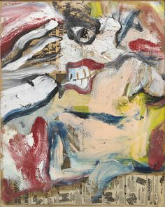 "Untitled  Willem de Kooning (American, born the Netherlands. 1904-1997)    (1976). Oil on newspaper mounted on paper mounted on linen, 29 1/8 x 22 3/8"" (74 x 57 cm). Fractional and promised gift of Jo Carole and Ronald S. Lauder. © 2012 The Willem de Kooning Foundation / Artists Rights Society (ARS), New York"