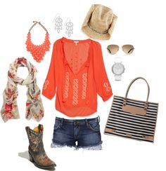 Coral Cowgirl Summer, created by brandybarrow on Polyvore