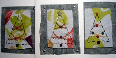 Three Christmas cards I did using embroidery, beads, and recycled screen-printed fabric. #recycled #greetingcards