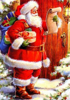 Antique Christmas Santa Postcards and Vintage Illustrations