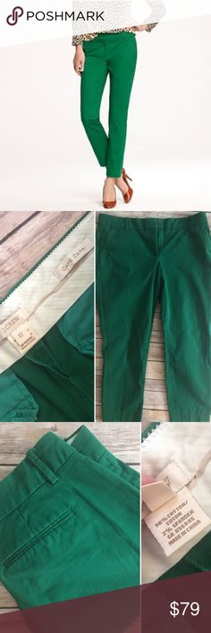 Size 12 J. Crew Cafe' Capri Green EUC J. Crew Cafe' Capri.  Color: Green Condition: Great (very minor fading, as pictured, no editing). Size 12; waist laying flat and inseam are pictured. Material content in photos. Classic wardrobe staple that never goes out of style! J. Crew Pants Capris