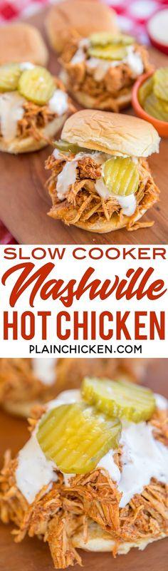Slow Cooker Nashville Hot Chicken - adapted from the original Hattie B's Hot Chicken recipe in Nashville, TN. SO good!! Chicken, cayenne, brown sugar, garlic powder, paprika, chili powder, butter and chicken broth. Serve the chicken on slider buns with ranch and pickles. SO good! Sweet and spicy in every bite - YUM! #slowcooker #nashvillehotchicken #chickenrecipe #hotchicken