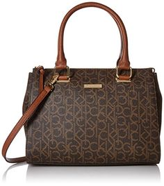 Women's Top-Handle Handbags - Calvin Klein Top Zip Hudson Monogram Satchel *** Want to know more, click on the image.
