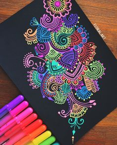 Hey guys! Another doodle! A lot of people always ask what pens these are, they are Sakura gelly roll pens and they are my absolute favourite. If you were watching my story yesterday you might've seen some progress shots I really hope you guys like this piece⭐️ #mandala#zentangle#gellyroll#doodle#colourful