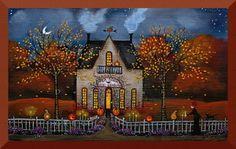 """Halloween Night, Company's Coming!!"" original folk art print by Deborah Gregg"
