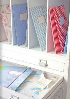 Line office drawers with pretty paper (yellow or red?) and attach label bin pulls to drawers (silver-not gold)