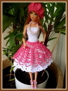 #Doll #Crochet #Vestido #Dress #Barbie #Muñeca #Chapéu #Hat #RaquelGaucha