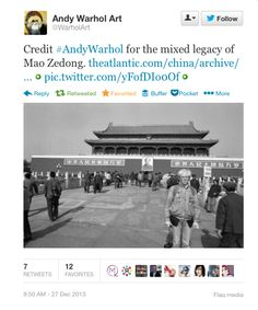 Credit #AndyWarhol for the mixed legacy of Mao Zedong.  https://twitter.com/WarholArt/statuses/416566636292755457 Follow #AndyWarhol Art on Pinterest curated by Joseph K. Levene Fine Art, Ltd. | #JKLFA |  http://pinterest.com/jklfa/andy-warhol-art/