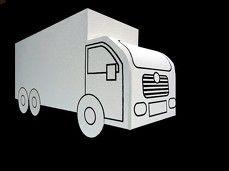 Vrachtwagen. De bouwplaat is op de site te downloaden (free download)