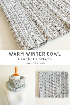 Crochet Pattern -WARM WINTER COWL: If you're looking for something to grab on your way out the door, the Warm Winter Cowl is perfect.  CLICK THE LINK NOW FOR MORE! #awesomegifts #cute #handmadegifts #crochetlove #stitch11 Crochet Cowel, Crochet Motifs, Easy Crochet, Crochet Scarves, Crochet Clothes, Crochet Stitches, Crotchet, Crochet Patterns, Crochet Winter