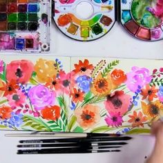 A colorful and quick bouquet to end my day! #videosfromalisa . Supplies- Raphael travel watercolors Sakura Koi watercolor field set Black velvet round brush Moleskin watercolor journal