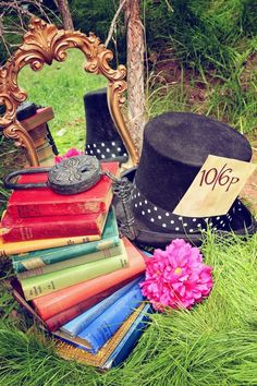 Madhatter party idea, use books as cake stand