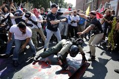 The governor of Virginia declared a state of emergency in Charlottesville on Saturday as white nationalists, neo-nazi, and white supremacist marchers clashed with anti-racism and anti-fascist counter-protesters for the second day in a row over a plan. Confederate Statues, Tim Beta, Fight Club, Male Face, Rally, Virginia, Shit Happens, Celebrities, Charlottesville Va