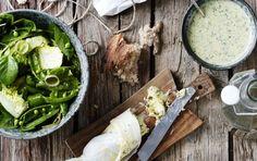 Grøn salat med sukkerærter og dilddressing