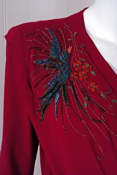 1940's Gothe Beaded Sparrow Birds Raspberry-Red Crepe Gown - Detail