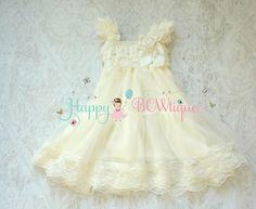 Flower girl dress, Ivory Chiffon Lace Dress, baby Flower Girl, Baptism, Girls dress, Birthday,Rustic dress,Ivory dress,Country, FLOWER GIRL