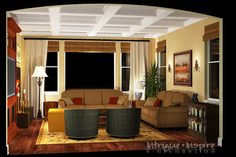 Our Spanish style e-decorating 3-D perspective for a family room in Carmel Valley, San Diego, CA.  www.intrigueandinspireedecor.com