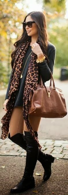 Black long boots, leopard scarf and bag inspiration for ladies | Fashion World