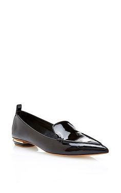 Black patent pointed toe loafers by NICHOLAS KIRKWOOD Available Now on Moda Operandi