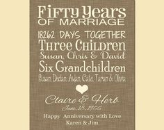 Personalized Parent's Anniversary Gift, 50th Anniversary Gift, Anniversary Print with Names, Typography Anniversary Print