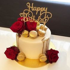 50th Birthday Cake For Women, Red Birthday Cakes, Birthday Cake For Women Elegant, Elegant Birthday Cakes, Birthday Wishes Cake, Happy Birthday Cake Images, Beautiful Birthday Cakes, Birthday Ideas, Cake Decorating Videos