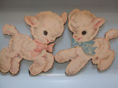vintage lambs - not sure where we had these possibly my little sister's crib. But i do remember them. My Childhood Memories, Childhood Toys, Sweet Memories, Vintage Cards, Vintage Images, Retro Baby, Vintage Nursery, Vintage Easter, Vintage Love