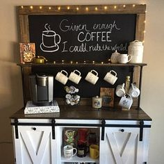 If you are a coffee lover, the best DIY Coffee Bar Ideas are here to inspire you coffee altar, your coffee worshiping game changes now! Coffee Bars In Kitchen, Coffee Bar Home, Home Coffee Stations, Coffee Wine, Coffee Bar Ideas, Espresso Coffee, Krups Coffee, Coffee Cups, Diy Coffe Bar