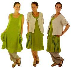 FY200 dress with pockets green tunic from Mein Design Lagenlook de Mallorca by DaWanda.com
