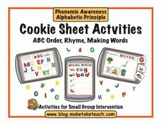 Great for center! 3 early reading activities using a cookie sheet. Free templates of the blog!