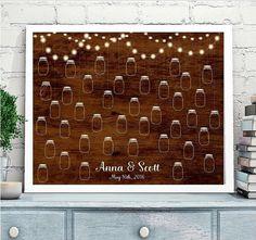 Wedding Guest book Alternative, Mason Jar Wedding Guestbook, Mason jar Wedding Poster, Shabby Chic Wedding, Rustic Wedding, wooden poster